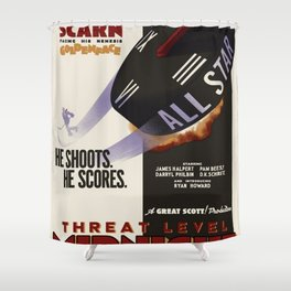 Threat level midnight Shower Curtain