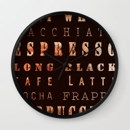 Coffee Types Poster Wall Clock