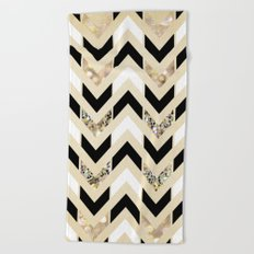 Black, White & Gold Glitter Herringbone Chevron on Nude Cream Beach Towel