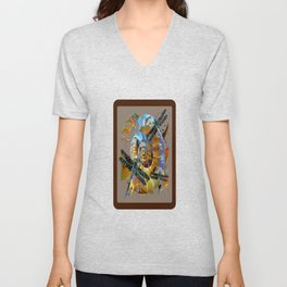 Black Dragonflies Brown-Grey-Opal Color Spiral Abstract Unisex V-Neck