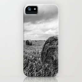 Nostalgia - Hay Bales in Kansas Field in Black and White iPhone Case