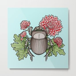 Beetle with Chrysanthemum - Blue Metal Print