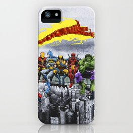 Breakfast Of Champions - Superheroes Lunch Atop A Skyscraper iPhone Case