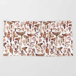Watercolor Mushrooms Beach Towel