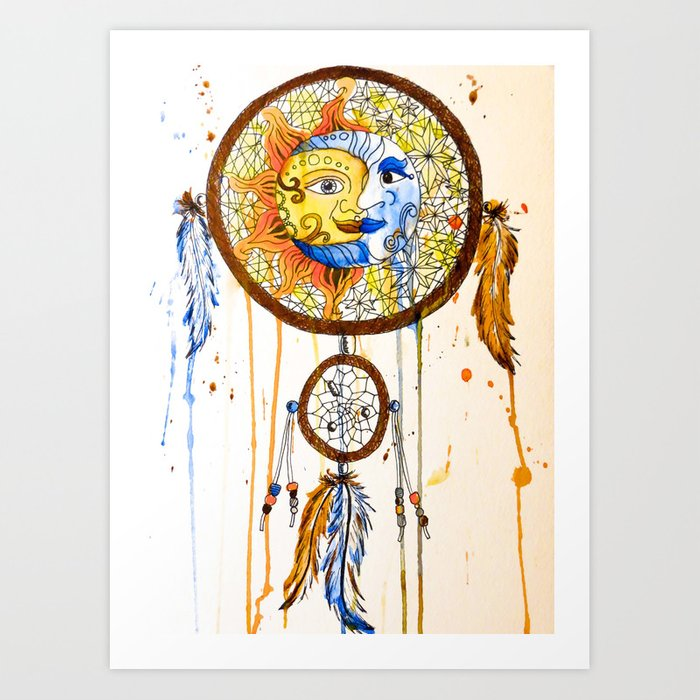 Wonderful Sun and Moon Dreamcatcher Art Print by laurenramer | Society6 IA41