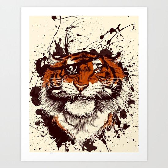 TigARRGH (Maroon and Orange) Art Print
