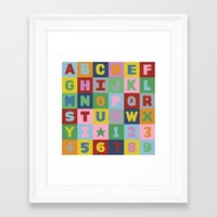 alphabet Framed Art Prints featuring Alphabet by Project M