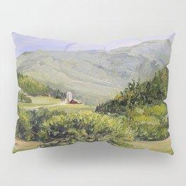Pastures and Mount Mansfield Oil Landscape Vermont Painting Pillow Sham