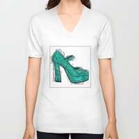 shoe V-neck T-shirts featuring Shoe 2 by AstridJN
