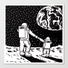 Mother and Son Astronauts Canvas Print