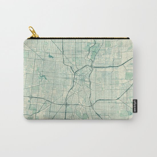 San Antonio Map Blue Vintage Carry-All Pouch