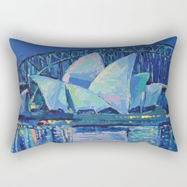 Sydney Opera House at Night - contemporary palette knife city landscape by Adriana Dziuba Rectangular Pillow