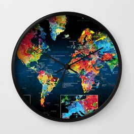 World Map Black - 2 Wall Clock
