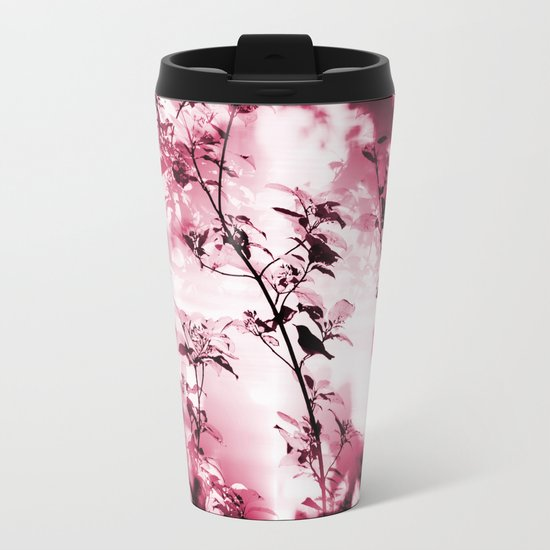 Silhouette of songbird on a branch Metal Travel Mug