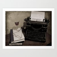 hemingway Art Prints featuring Hemingway by planejane