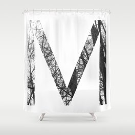 Minimal Letter M Print With Photography Background Shower Curtain