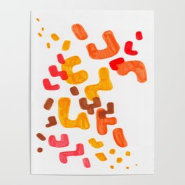 Minimalist Abstract Mid Century Modern Colorful Organic Patterns Red Orange Brown Poster