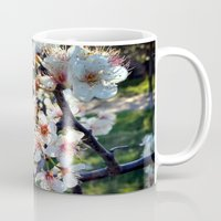 cherry blossoms Mugs featuring Cherry Blossoms by Sid Pena