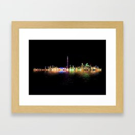 Toronto Skyline At Night From Centre Island Reflection Framed Art Print
