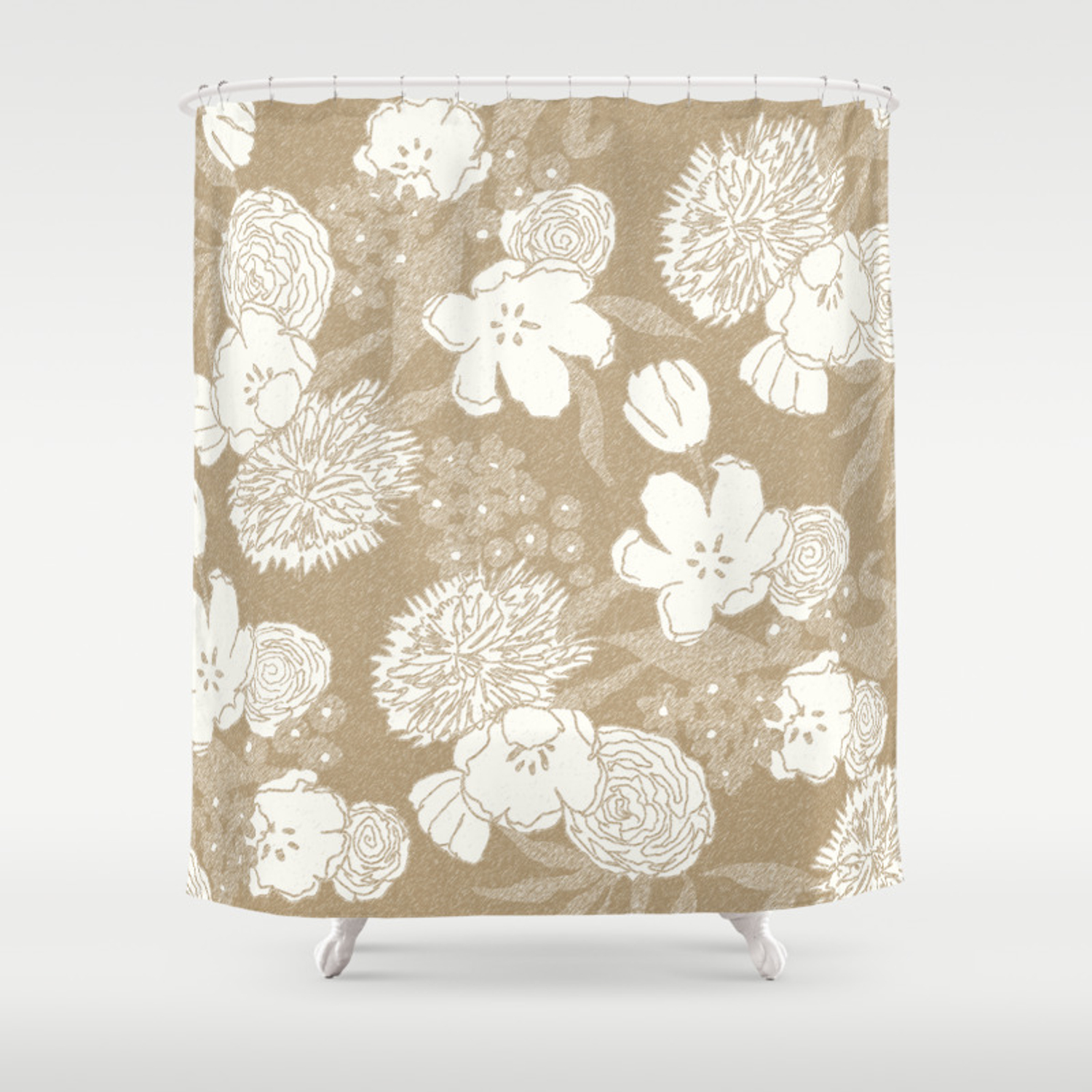 Sketchy Floral Camel Ivory White Shower Curtain