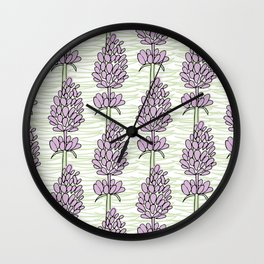 Large Lavender Floral Repeat Wall Clock
