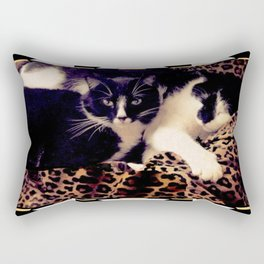Love & Peace Cats on Black,White,Gold,Leopard Rectangular Pillow