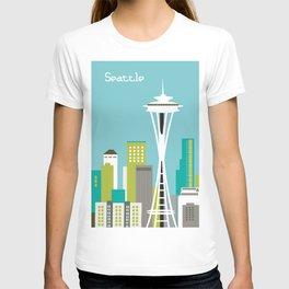 Seattle, Washington - Skyline Illustration by Loose Petals T-shirt