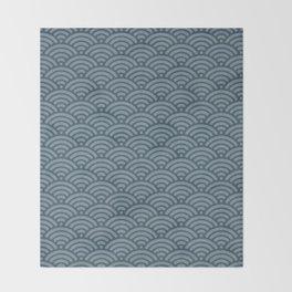 Blue Indigo Denim Waves Throw Blanket