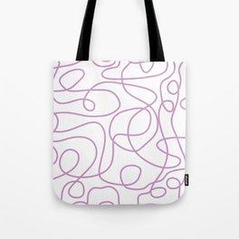 Doodle Line Art   Lavender Purple Lines on White Background Tote Bag