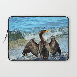 Cormorant Dries off in front of the Sea Laptop Sleeve