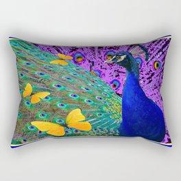 Purple-Blue Peacock  Yellow Butterflies Fantast Art Rectangular Pillow
