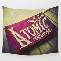 records Wall Tapestries featuring Atomic Records Vintage Sign by Honey Malek