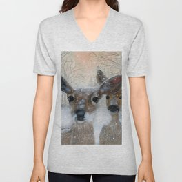 Deer in the Snowy Woods Unisex V-Neck