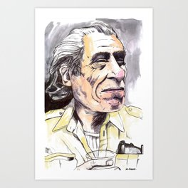 Charles Bukowski portrait in watercolor and ballpoint by McHank Art Print