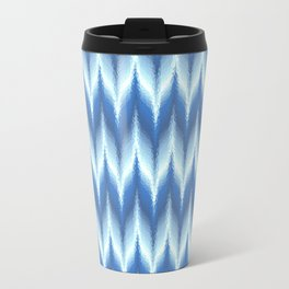 Bargello Pattern in Blue and White Travel Mug
