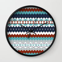 navajo Wall Clocks featuring Navajo Pattern by Sean O'Connor