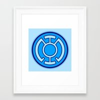 green lantern Framed Art Prints featuring Green Lantern: Blue Lantern by The Barefoot Hatter