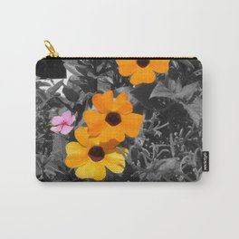 Yellow and Black Flowers on Gray Leaves Carry-All Pouch