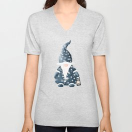 Winter Night Nordic Gnome Unisex V-Neck
