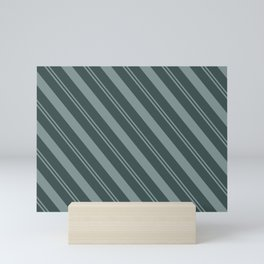 Scarborough Green PPG1145-5 Thick and Thin Angled Stripes on Night Watch PPG1145-7 Mini Art Print