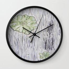 Lichen on Aged Wood Wall Clock