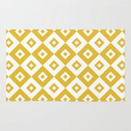 Diamond Check Pattern Mustard Yellow Rug