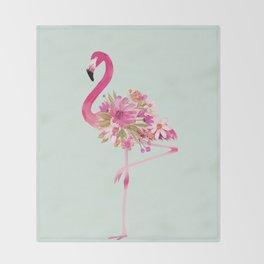 Flamingo with flowers Throw Blanket