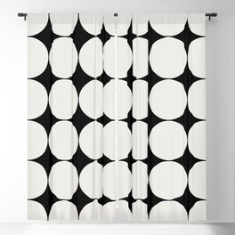 Circular Minimalism - Black & White Blackout Curtain