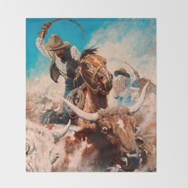 "N C Wyeth Vintage Western Painting ""Cutting Out"" Throw Blanket"