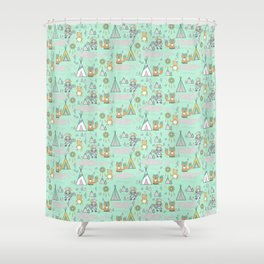 Indians and tepees Shower Curtain