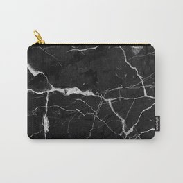 Black Suede Marble With White Lightning Veins Carry-All Pouch