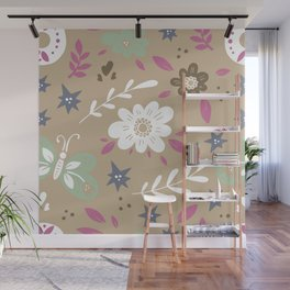 Flowers and butterflies In Brown Pattern Wall Mural