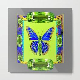 BLUE & GREEN  BUTTERFLY PERIDOT GEMMED GEOMETRIC Metal Print