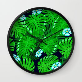 Tropical Palm Leaves With Blue Plumeria-Like Flowers Wall Clock
